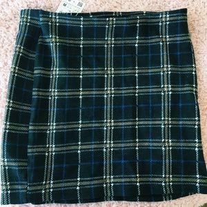 NWT Zara Plaid Pencil Mini Skirt